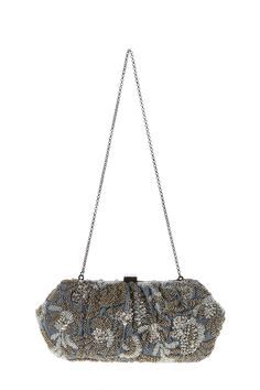 """Grey satin clutch with gold and white beading one interior slip pocket and a crossbody strap.  Approx. Measures:10.5"""" W x 5"""" L.  Gold White Beaded Clutch by Santi. Bags New York"""