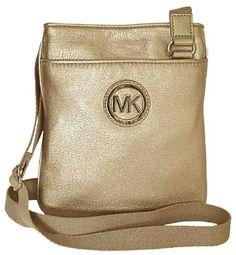 Michael Kors Pale Gold Leather Fulton Crossbody Bag Handbag