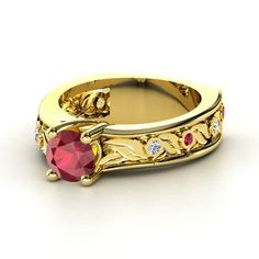 Round Ruby Palladium Ring with Diamond & Diamond  - lay_down