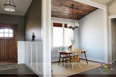 # wood ceiling # wainscoting #rustic dining room
