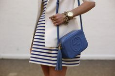 striped dress with a white blazer and the new gucci purse.....LOVE