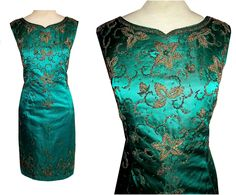 Vintage 50's 60's Green BEADED Satin Wiggle Cocktail Dress // Couture Jeweled // Floral Design // Hong Kong Label Bombshell Party Dress by TheVintageVaultShop on Etsy