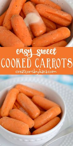 Sweet cooked carrots - a simple side dish. Make cooked carrots more delicious with just a few ingredients. Sweet cooked carrots - a simple side dish. Make cooked carrots more delicious with just a few ingredients. Side Dishes Easy, Vegetable Side Dishes, Side Dish Recipes, Vegetable Recipes, Easy Recipes, Main Dishes, Chicken Recipes, Cooked Carrots Recipe Healthy, Cooked Baby Carrots