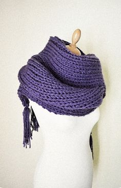 Chunky Knit Scarf Long Thick Purple Warm Tassels
