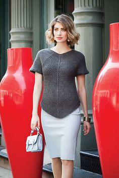 Standard-fitting top with central slant ribs that form the center points and attached sleeves that form the circular yoke. Sized for Small, Medium, Large, X-Large, XX-Large and shown in size Medium on page 64.