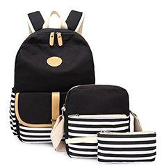 1d4653227829 Ulgoo School Backpacks Canvas Teen Girls Backpacks Casual Shoulder bags  (8893-3 Black)