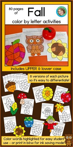 80 pages of fall alphabet practice for preschool and kindergarten - perfect for back to school literacy learning! With 8 versions each of 10 pictures, you'll easily differentiate for all your students. These printable NO PREP worksheets even have the co Kindergarten Reading Activities, Literacy, Kindergarten Class, Reading Resources, Apple Activities, Letter Activities, Fall Preschool, Preschool Ideas, We Are Teachers