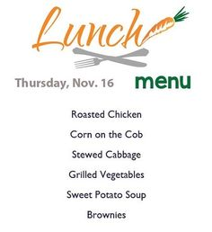 Here's today's delicious menu served from 11-2!