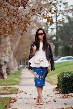 Peplum Top and Floral Pencil Skirt hallie daily