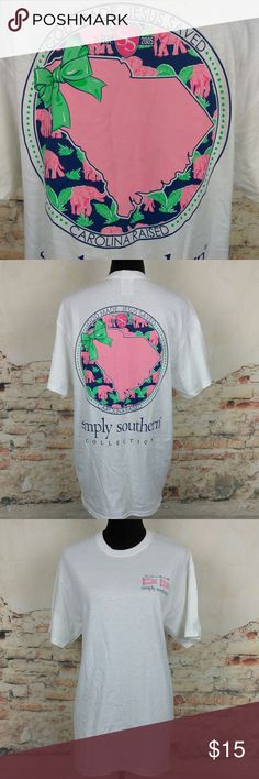 Simply Southern M SC God Made Jesus Saved Tee Simply Southern Sz M South Carolina SC God Made Jesus Saved White T-shirt Shirt Simply Southern Tops Tees - Short Sleeve