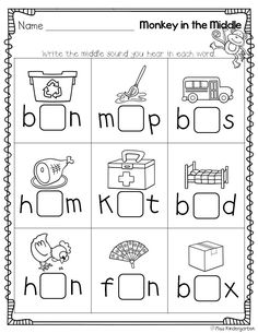 Printables Middle Sound Worksheets activities literacy and stamps on pinterest monkey in the middle medial sound practice this would be an easy thing to turn into a game