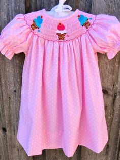 Pink Polka Dot Smocked Ice Cream Cone Dress