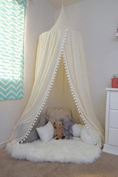 Pompom Play canopy in ivory cotton / hanging tent/ hanging canopy – Playroom İdeas Decoration Buffet, Whimsical Bedroom, Hanging Tent, Backyard Canopy, Garden Canopy, Bed Tent, Canopy Tent, Canopy Design, Big Girl Rooms