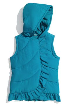 love the shape and size of the ruffle. Hooded Vest, Puffer Vest, Vest Coat, Future Children, 4 Kids, Little Princess, Clothing Patterns, Ivy, Ruffles