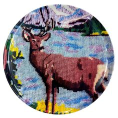 needlepoint deer plate