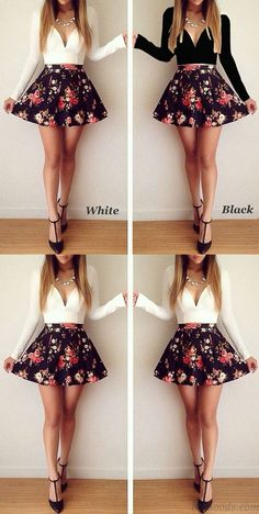Black or white? Sexy Deep V Floral Long Sleeve Mini Dress #dress #black #deep #floral #Long #white #party #fashion