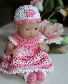 Crochet pattern for berenguer 5 inch baby doll dress set handmade pdf pattern crochet 75 inch berenguer or 8 inch circo baby doll dress set with short dt1010fo