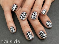cute black and white nails!