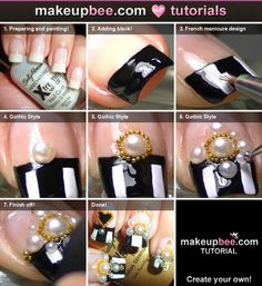Step-By-Step Tutorial for Gothic Lolita Nail Art ❤