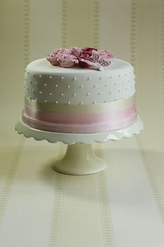 pink roses and royal iced butterfly christening cake