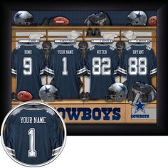 "Show off your pride for ""America's Team"" with this personalized Dallas Cowboys locker room sign! Made in the USA and officially licensed by the NFL, it comes framed, mounted and ready to hang in premium black wood. It's the perfect gift for that special Cowboys fan in your life and looks great in a man cave, game room, or office. Best of all, it can be easily customized! Just choose your jersey number along with the name, message, or date of your choosing. We'll handle the rest. #DallasCowbo..."