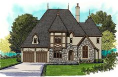 House Plan 53856 | Tudor Plan with 4687 Sq. Ft., 4 Bedrooms, 5 Bathrooms, 3 Car…