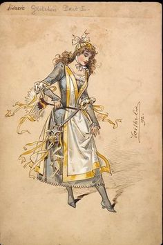 Costume design by Wilhelm (Charles William Pitcher, for Gretchen in the pantomime Dick Whittington as performed at the New Olympic Theatre on December Wilhelm Pantomime Designs. Cloud Costume, Costume Design Sketch, Theatre Costumes, Fantasy Costumes, Fashion Painting, Watercolor Sketch, Fashion Plates, Clowns, Vintage Costumes