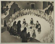 Gene Kloss:  Circle Dance, Taos Pueblo, 1939 11 x 14 inches drypoint, aquatint