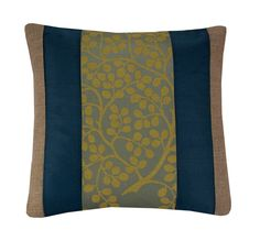 PLEASE NOTE: Due to an upcoming vacation I will be unable to ship any orders taken from 19/05/17 until 05/06/17  Beige and Teal Pillow Cover, 16x16 inches (40x40cm)  Cushion cover made from wheat linen, teal blue taffeta and aegean blue linen blend fabric with a woven in gold floral design.  Part lined and over-locked Back zip  Machine washable: 30 degrees  Dispatched within 1-2 business days  UK orders are shipped by first class signed for delivery. International orders a...