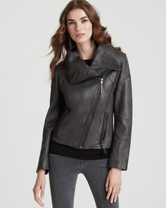 Marc New York Distressed Asymmetrical Leather Jacket | Bloomingdale's
