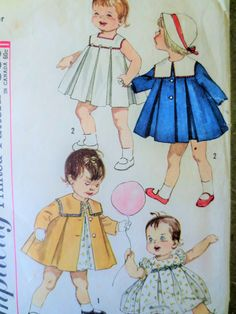 Vintage Simplicity 3843 Sewing Pattern, Toddler Pleated Dress, Pleated Coat, 1960s Pattern, Child Dress Little Girl Pattern, Vintage Sewing by sewbettyanddot on Etsy