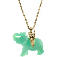 KJL by KENNETH JAY LANE Simulated Jade Elephant Pendant Necklace ($60) ❤ liked on Polyvore featuring jewelry, necklaces, green pendant, jade elephant pendant, elephant necklace, rope chain necklace and elephant pendant necklace