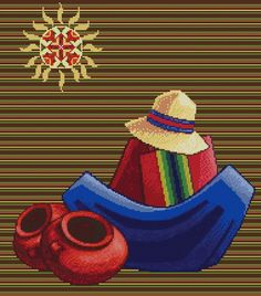 "PATRON PUNTO CRUZ   (Foto del Bordado Virtual)   "" Escena Boliviana VII ""   Para bordar con Hilos DMC   190 Puntos de Ancho   215 Puntos de alto Step By Step Sketches, Peruvian Art, Cardboard Box Crafts, Mexico Art, Native American Pottery, Cowboys And Indians, Southwest Art, Idee Diy, Pottery Painting"