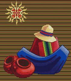 """PATRON PUNTO CRUZ (Foto del Bordado Virtual) """" Escena Boliviana VII """" Para bordar con Hilos DMC 190 Puntos de Ancho 215 Puntos de alto"""