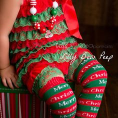 SET-Red & Green Lace Petti Romper-Flower Headband-Christmas Outfit-Chrismtas Clothes-Baby Girl Clothes-Preemie-Newborn-Infant-Child-Toddler