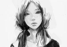 anime monochrome Anime girl anime face