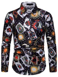 d69ba1d7784 Lapel Casual Print Slim Men s Shirt