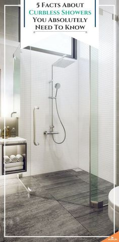 Thinking about installing a curbless shower in your bathroom? Then you need to keep these 5 important facts in mind! [One Level Shower Floor, Walk In Shower Ideas, Bathroom Remodel Ideas] Modern Bathroom, Small Bathroom, Master Bathroom, Bathroom Showers, Bathroom Ideas, Budget Bathroom, Washroom, Restroom Ideas, Vanity Bathroom