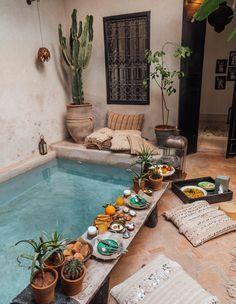 La Maison Marrakech – Tara Milk Tea - Rebel Without Applause Small Backyard Pools, Small Pools, Loft Interior, Interior Design, Interior Ideas, Kleiner Pool Design, Piscina Interior, Small Pool Design, Sweet Home