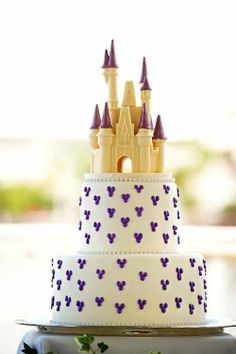 Simple cute and could use a Cinderella castle you as the cake topper!