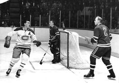Lookout here comes the Rocket and he's angry - One of the best all time. Montreal Canadiens, Canada Cup, Maurice Richard, Bobby Hull, Hockey Pictures, Hockey Rules, Rangers Hockey, Hockey Girls, Boys