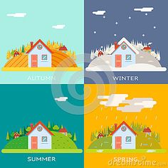 Seasons Change Autumn Winter Summer Spring Village