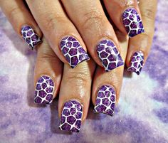 Purple and white acrylic nails