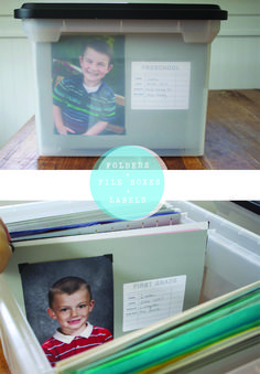 Start school bins for the kids... great way to organize the most treasured projects / papers...