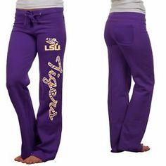 LSU Tigers Ladies Animal Print Rugby Fleece Sweatpants - Purple