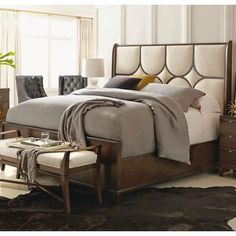 Bernhardt Beverly Glen King Upholstered Panel Bed with Exposed Wood Grille