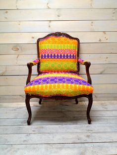 French Provencal Armchair Upholstered in Bright Silk Jacquard
