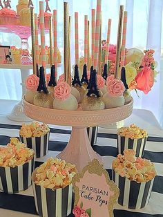 Sparkly cake pops at a Paris birthday party! See more party ideas at CatchMyParty.com!