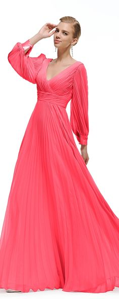 Hot pink prom dress long sleeves modest prom dresses formal dress evening gown