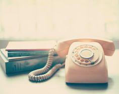 Pink Retro Telephone and Books, still life vintage  Art Print